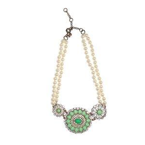 J. Crew Necklace Pearl Faux Diamond Accent